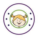 Colorez la silhouette avec le dessin de fille dans le cadre rond Image stock