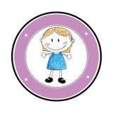 Colorez la silhouette avec le dessin de fille dans le cadre rond Photographie stock