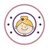 Colorez la silhouette avec le dessin de fille dans le cadre rond Photos libres de droits