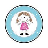 Colorez la silhouette avec le dessin de fille dans le cadre rond Images stock