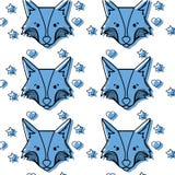 Colorez la tête mignonne de renard animale avec le fond de coeurs d'american national standard d'étoiles Photographie stock