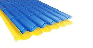 Colorez la tuile de toit en métal sur une illustration blanche du fond 3D Photo stock