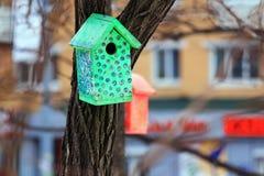 Colorez la volière sur un arbre dans la ville photographie stock libre de droits