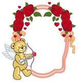 Colorez le cadre avec les roses et l'ours de nounours avec l'arc et les ailes, regards Photos stock