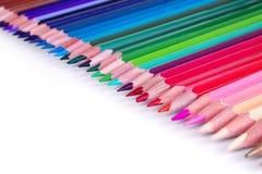 Colorez le crayon avec l'espace de copie d'isolement sur le fond de whtie, educat Images stock
