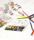 Colorez le crayon, peinture, faite main au travail Photos stock