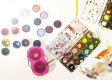 Colorez le crayon, peinture, faite main au travail Photographie stock