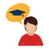 Colorez le demi homme de corps et le discours de bulle avec le chapeau d'obtention du diplôme Photographie stock