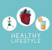 Colorez le fond avec le cadre circulaire d'icônes de l'homme de sport ruinning avec le texte d'organe de coeur et de jus d'orange illustration de vecteur