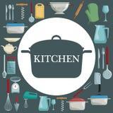 Colorez le fond avec différents éléments de la cuisson et le cadre circulaire avec la cuisine de pot et de textes Photo stock
