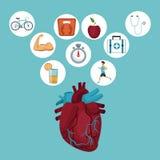 Colorez le fond avec l'organe de coeur et les icônes dans le cadre circulaire avec des éléments de santé illustration de vecteur
