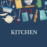 Colorez le fond avec l'ustensile différent de la calligraphie de cuisine Photos libres de droits