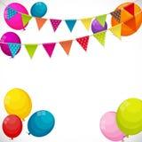 Colorez le fond brillant de bannière de ballons de joyeux anniversaire avec la partie Photos stock