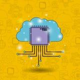 Colorez le fond de modèle de la future technologie avec le nuage relié à la carte illustration de vecteur