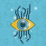 Colorez le fond de modèle de la future technologie avec la sécurité de cyber d'oeil illustration stock