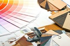 Colorez le guide, les échantillons de matériaux et le catalogue Photos stock