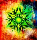 Colorez le mandala ornemental et le fond doucement brouillé d'aquarelle illustration libre de droits