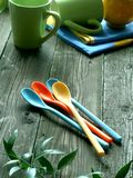 colorez le pique-nique de dishware en bois Images libres de droits