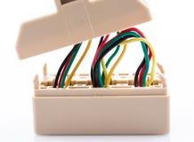 Colorez le réseau en plastique d'équipement de technologie de câble électrique Image libre de droits