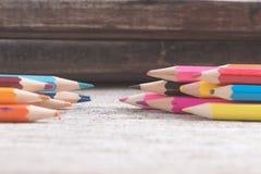 Colorez le vieux rétro vintage de crayons Photos libres de droits