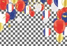 Colorez les ballons de vacances dans des couleurs traditionnelles rouges, blanc, bleu illustration libre de droits