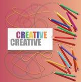 Colorez les crayons avec les lignes tirées et le texte sur le livre blanc Photos libres de droits