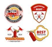 Colorez les emblèmes de sapeur-pompier, les labels et l'ensemble de vecteur d'insignes illustration libre de droits
