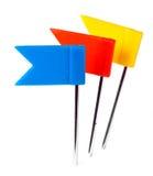 Colorez les goupilles photo, goupille de drapeau de poussée de marqueur Images libres de droits