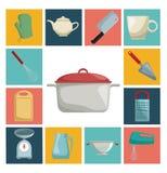 Colorez les icônes carrées avec l'ustensile différent de l'intérieur de cuisine et le pot en plan rapproché central Photographie stock libre de droits