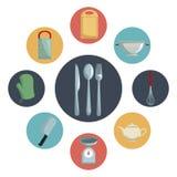 Colorez les icônes circulaires avec l'ustensile différent de la cuisine à l'intérieur de et des couverts de plan rapproché au cen Image stock