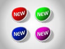 Colorez les nouveaux labels de plein vecteur. Image libre de droits