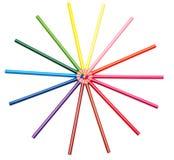 Colorez les penciles sur le fond blanc Image libre de droits
