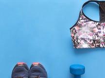 Colorez les sports complètent, les chaussures bleues de sports sur le fond bleu, haltère Image libre de droits