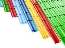 Colorez les tuiles de toit en métal, sur une illustration blanche du fond 3D, le rendu 3D Illustration de Vecteur