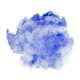 Colorez peint à la main bleu d'aquarelle d'éclaboussure d'isolement sur le fond blanc, décoration artistique illustration stock