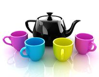 Colorfall cups and teapot Stock Photos