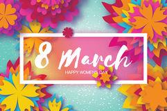 Colorfeul Paper Cut Flower. 8 March. Origami Women`s Day. Rectangle Frame. Space for text Stock Images