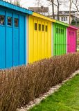 Colorfful booths in a city park. View from the back. Rapprochement. royalty free stock photos