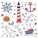 Colorfil sea doodles Royalty Free Stock Photo