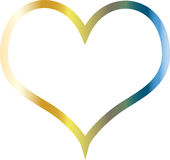 Colorflul heart metal and shining. Beautiful colorful heart. A  basic shape of heart as a vector illustration. Colored by chrome gradient with blue, gold and Stock Photo