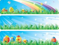 Colorfol Easter banner set. With the image of Easter eggs, butterfly, flowers in a spring grass. Vector will be aditional Stock Photos
