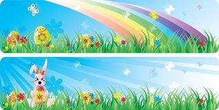 Colorfol Easter banner set. With the image of Easter eggs, butterfly, flowers and a rabbit in a spring grass. Vector will be aditional Stock Photo