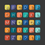 Colorfol english flat alphabet. Latin minimalistic letters Stock Photos