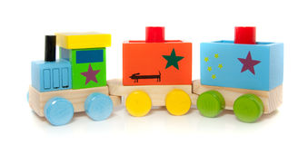 A colorfol wooden toytrain Stock Images