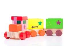 A colorfol wooden toytrain Stock Photography