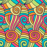 Colorfu abstract waves pattern. Hand drawn spiral wavy background. Vector ethnic coloring texture. Royalty Free Stock Photography