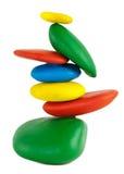 Colorfu Balancing stones. Balancing of Colorful pebbles.  on white + Clipping Path Royalty Free Stock Photos