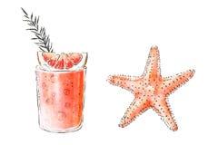 Colorfu hand-drawn illustratie van heerlijke smoothie van vers fruit en de zeester Verse de zomercocktail met grapefruit en r royalty-vrije illustratie