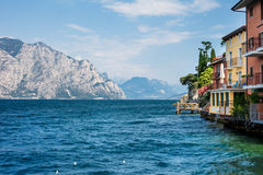 Colorfu houses of Malcesine on beautiful Garda lake, Italy. Travel background Royalty Free Stock Image
