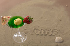 Colorfu ice cream cup with fruits for the hot summer days. Happy ice cream cup, for cooling Stock Image